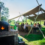 Dining outdoors at our South Wales glamping site