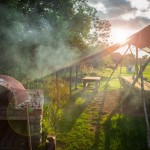 Outdoor seating and bbq at our glamping site in South Wales