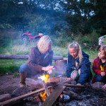 Lighting the fire at our glamping site