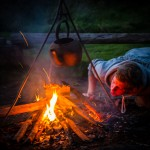 Lighting the fire at Hidden Valley Yurts