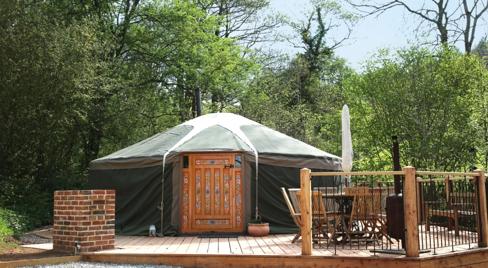 Yurt 1 from front idyllic glamping site in Wye Valley