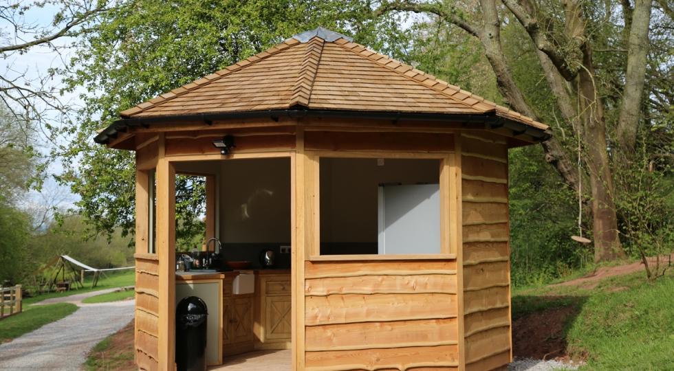 Yurt 1 kitchen at Hidden Valley Yurts Monmouthshire