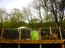 Yurt 2 back door new deck in this family-friendly glamping site in the Wye Valley