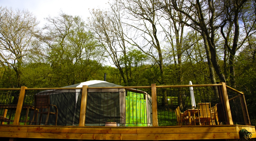 Yurt 2 back door new deck in this luxury glamping site in the Wye Valley