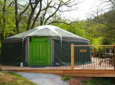 Yurt 2 new green door new deck at this luxury glamping holiday site in Wales