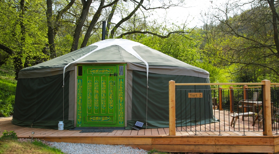 Yurt 2 new green door new deck at this luxury glamping holiday site