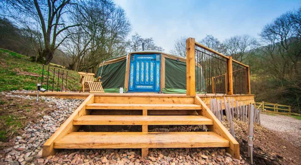 Yurt 3 brand new deck at this lovely holiday site in the Wye Valley