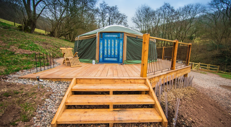 Yurt 3 brand new deck in this luxury glamping site in the Wye Valley