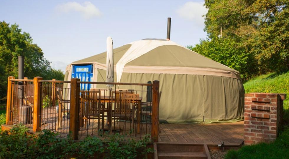 Yurt 3 exterior Hidden Valley Yurts Glamping Wales