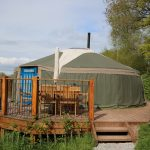 Yurt 3 new deck in sunshine beautiful South Wales holiday site