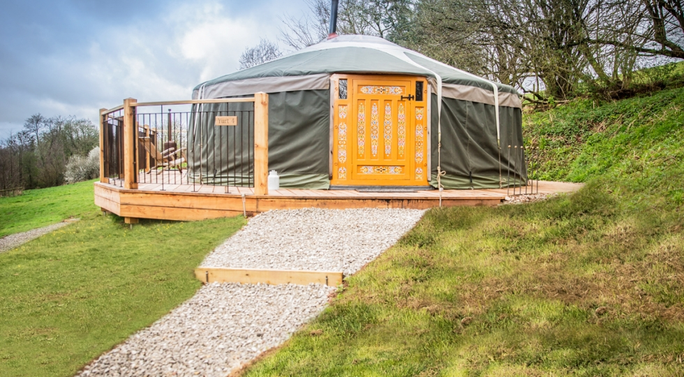Yurt 4 brand new cover and deck at Wye Valley glamping site