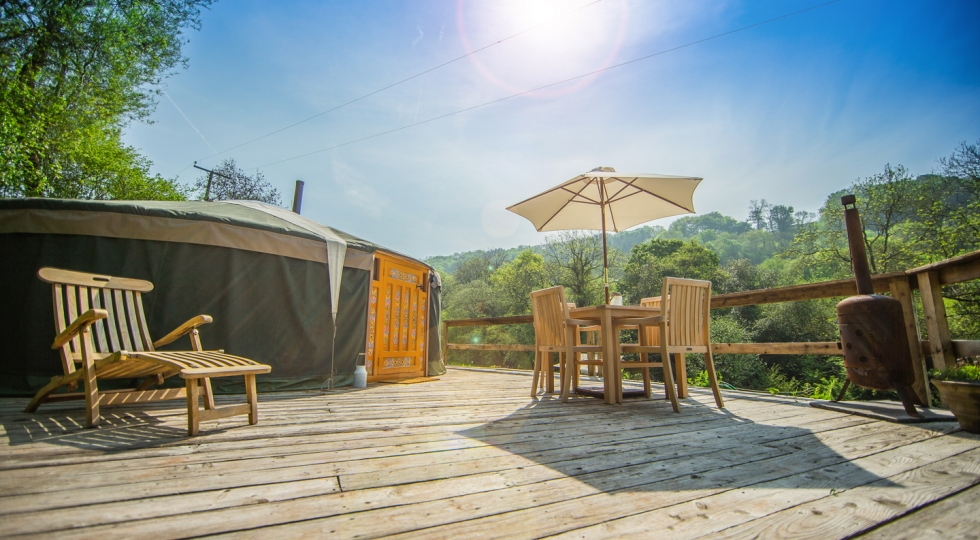 Yurt 4 in sunshine at Hidden Valley Yurts glamping site