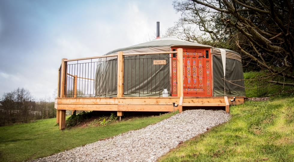 Yurt 5 brand new deck at the Hidden Valley Yurts South Wales site