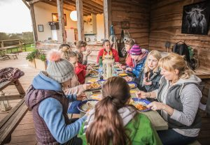 Group glamping walking Wye Valley outdoor dining